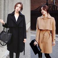 Wholesale New Arrival Fall and Winter Long Thicken Fashion Women Wool Coats Outwear Hot Elegant Long Sleeve Slim Khaki Black Women Coat with Sash