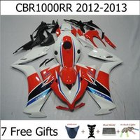 Wholesale 2012 Red White Motorbike Body Kit For Honda CBR1000RR CBR RR CBR RR Free Gifts Motorcycle Fairing Kits ABS Plastic