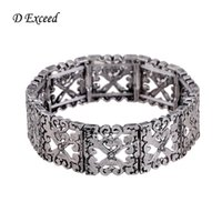 antique etchings - European Style Etched Stretchy Bangle Bracelets Antique Silver Chunky Wide Adjustable Hollow Out Carve Flower Bangles Jewelry BL140045