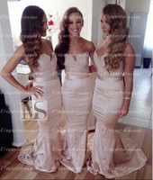 Wholesale Elegant New Lace Long Sweetheart Bridesmaid Dress With Sash Floor Length Lace Appliques Cheap Maid of Honor Wedding Event Evening Dress
