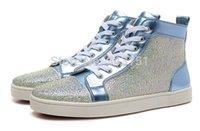 Precio de Designer brand name men shoes-2016 New Classic de la aguamarina de la Mujer Strass plana, barato Diseñador Marca Rhinestone High Top Sneakers Zapatos Para Hombres Mujeres