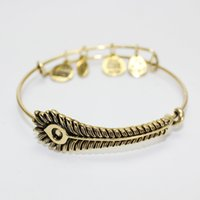 Wholesale New Style Gold plated Valentine s day gifts Alex and ANI restoring ancient ways Peacock feathers pendant bracelet High Quality