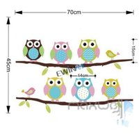 Wholesale New Cute Owl Animal wall stickers beautiful decal Cartoon Children s Room Painted Decorative Sticker Removable sets