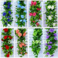 Wholesale S m Artificial Rose Silk Flower Green Leaf Vine Garland Home Wall Party Decoration