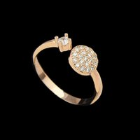 Wholesale New Arrival Super Deals K Rose Gold Plated Rhinestone Round Wedding Rings for Women
