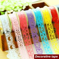 Wholesale 10 Bud silk stationery stickers Decorative Lace tape adhesvie Masking tape scrapbooking tools School supplies