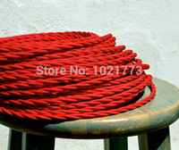 Wholesale Red DIY Vintage Pendant Light Cord Cable and Edison Lamp Bulbs Twisted cotton Cloth Covered Wire Many Colors Choices
