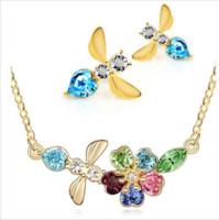 bee studs - 2015 Crystal Jewelry Set Imitation Diamond Pendant Necklace Rhinestone Stud Earrings Cherry Bee Women Accessories