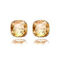 Wholesale Simple Square Stud Earrings Austria Crystal High Quality Earrings For Women Best Gift Jewelry