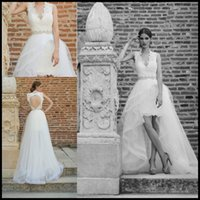 Wholesale 2016 Spring Summer High Low Wedding Dresses A Line Open Back With Beading Crystal Sweep Train Berta Bridal Gowns Wedding Dress Short Vestido