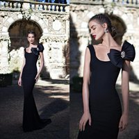Cheap Formal Black Mermaid Dress 2015 Scoop Neckline Trumpet Court Train Evening Gowns Prom Dresses with Bow on Shoulder