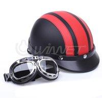 Wholesale Motorcycle Motor Open Face Helmet Red Black Visor Goggles Scarf
