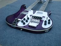 double neck guitar - New Double neck strings bass strings guitar purple color electric guitar