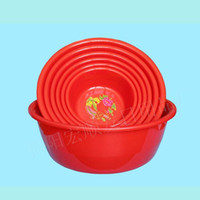 Wholesale Factory direct home washbasin Chinese traditional household cleaning round thick durable red plastic pots