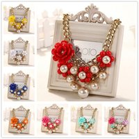 Wholesale European Style Fashion Exaggerated Women Clavicle Chain Rose Flowers Pearl Necklaces Statement Necklaces