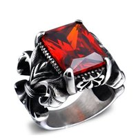 Cheap 2015 Rings for Men's Fashion 316L Stainless Steel Punk New Cross Ring Setting Red\Black\Blue Stone Punk Skull Rings Jewelry