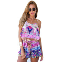 Wholesale Playsuit Bodycon Party Beach Printing Harness Floral Dress Pants Jumpsuits