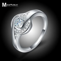 Wholesale Hot selling sterling silver jewelry fashion CZ diamond bijoux vintage bague engagement ring wedding Christmas gift for woman MSR006