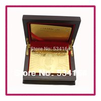 Wholesale US DOLLAR STYLE POKER WITH GOOD QUALITY WOODEN GIFT BOX AND CERTIFICATE GOLD FOIL PLAYING CARDS