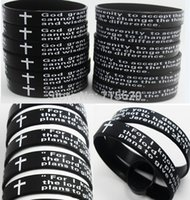 Wholesale English Lord s Prayer Serenity Prayer Silicone Bracelets Men s Fashion Jewelry