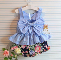 children tank tops - 2015 summer New children sets Kids Korean Style Fashion Set Cute Bow Tank Top Floral Shorts Pieces Set