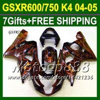 Precio de Suzuki gsxr750 fairing-7gifts + Capucha Para K4 04 05 llamas SUZUKI GSX-R750 naranja negro GSXR750 100NEW K4 P106J51 GSXR-750 GSXR 750 2004 2005 CALIENTE Cuerpo carenados