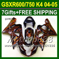 Wholesale 7gifts Cowl For K4 SUZUKI GSX R750 Orange flames black GSXR750 NEW K4 P106J51 GSXR GSXR HOT Body Fairings