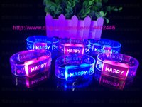 Wholesale DHL New Flashing Bracelet Wristband with happy LED Lights bracelet for birthday party decorations kids
