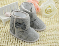 Wholesale 2015 New Baby Girls Snow Boots Warm Shoes Autumn Winter Toddler Fur Knit Warm Bow First Walker Shoes Infant Christmas Booties M A3064