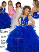 Cheap New 2015 Pageant Dresses for Little Girls Blue Ball Gown Ruffled Beading Lace Up Sweep Train Princess Beauty Queen Flower Girls Dress Cheap