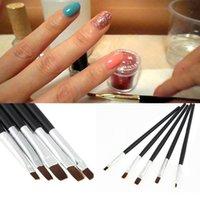 acrylic nails kits - 5PCS Nail Art Acrylic UV Gel Design Salon Pen Flat Brush Kit Dotting Tool
