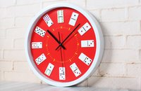 Wholesale classical style three dimensional wall clock Recreation mahjong chess room wall clock watches mute in stock