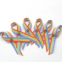 awareness ribbon pin - 500pcs Rainbow Awareness Ribbon Bow Golden Sliver Safty Pin