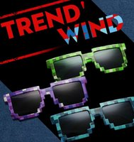 Wholesale 300pcs hot Minecraft Sunglasses Fashion unisex minecraft Sunglasses Block Pixel Sunglass Nerd Geek mosaic Sunglaases