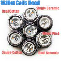 pen - Skillet Atomier rebuildable coils head for skillet Ego D Dual Ceramic Cotton Coil Herbal vapor wax Dry Herb vaporizer pen e cigatette core