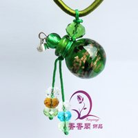 Cheap Glass oil bottle necklace pendant necklace jewelry glass beads cork + Jinsha ball ( solid )