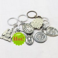 Wholesale Soccer Club Keychain Sports Metal Two side AC Milan Key Holder Vintage Key Chains Keyring Pendant