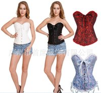 white lace up corset - S XL Plus Size Colors Women Hooks Steel Boned Corset Lace Up Corset Brocade Floral Bustier Overbust Corsets Boned Bustiers
