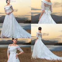 victorian dress - 2015 New Arrival Popular Victorian Style Bridal Gowns Off Shoulder Sleeve Poet Sweep Train Beach Lace Wedding Dress sj211