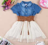 big cowgirl - Top quality Big girls clothes short sleeve girl denim tulle tutu dress with waistband princess girls dresses cowgirl skirts