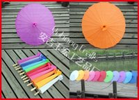 Wholesale 30pcs New Style Chinese Umbrella Bamboo Frame Wooden Handle Parasol Pure Color with no logo Imitation Silk Umbrella