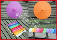 Wholesale New Style Chinese Umbrella Bamboo Frame Wooden Handle Parasol Pure Color with no logo Imitation Silk Umbrella
