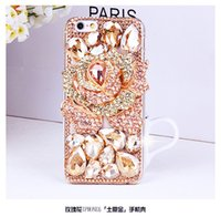 Cheap Handmade Rhinestone Blue Enchan Rose bling phone Case Cover Iphone 6 6 plus Diamond Mobile phone Case Cover Protective Shell