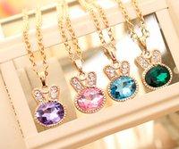 bunny jewelry - Kawaii bunny necklace rhinestone jewelry necklace rabbit necklace kids jewelry children jewelry girls jewelry children necklace
