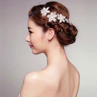 beaded headband designs - New Design Wedding Bridal Crystal Rhinestone Pearls Flowers Pieces Headband Beaded Crown Korean Princess Silver Tiara Christmas Jewelry Gift