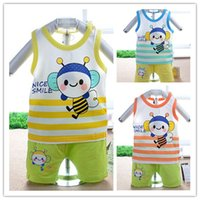 Cheap New Arrival Baby Set Summer 2015 Sleeveless Cartoon Bee Striped Baby Boy Summer Clothes Fashion Boys Girls Clothes Baby Sets