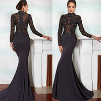 Wholesale 2015 Elegant Janique Mermaid Mother of the Bride Dresses High Neck Long Sleeve Lace Applique Black Beads Crystals Chapel Train Evening Gown