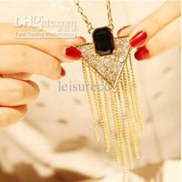 bling jewelry - Bling inverted triangle flash diamond tassel long necklace gemstone jewelry sweater chain ZB0119