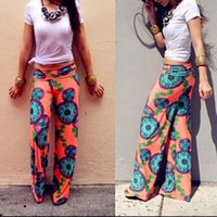 Cheap Hot Sale Summer Women Pants Casual High Waist Flare Wide Leg Long Pants Palazzo Trousers Floral Plus Size Classic Pant Preppy FG1510