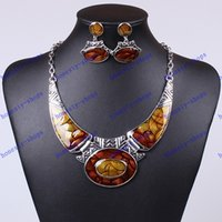 antique costume jewelry earrings - Fashion Europe and America Brand Antique Silver Plated Drop Oil Bridal Costume Jewelry Sets Wedding Earrings Necklaces For Women Party
